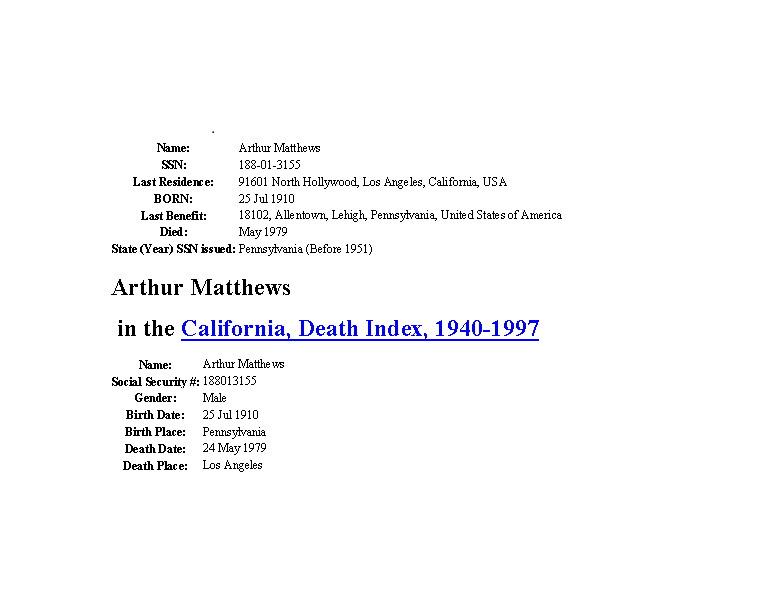 Arthur W Matthews