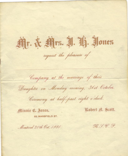 Wedding Invitation R N Scott and M E Jones