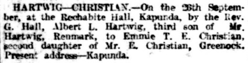 Hartwig-Christian - Marriage Notice (The Advertiser) [Saturday 17 Nov 1917]