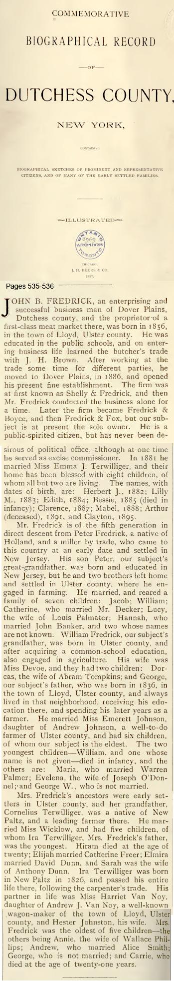 George W Frederick