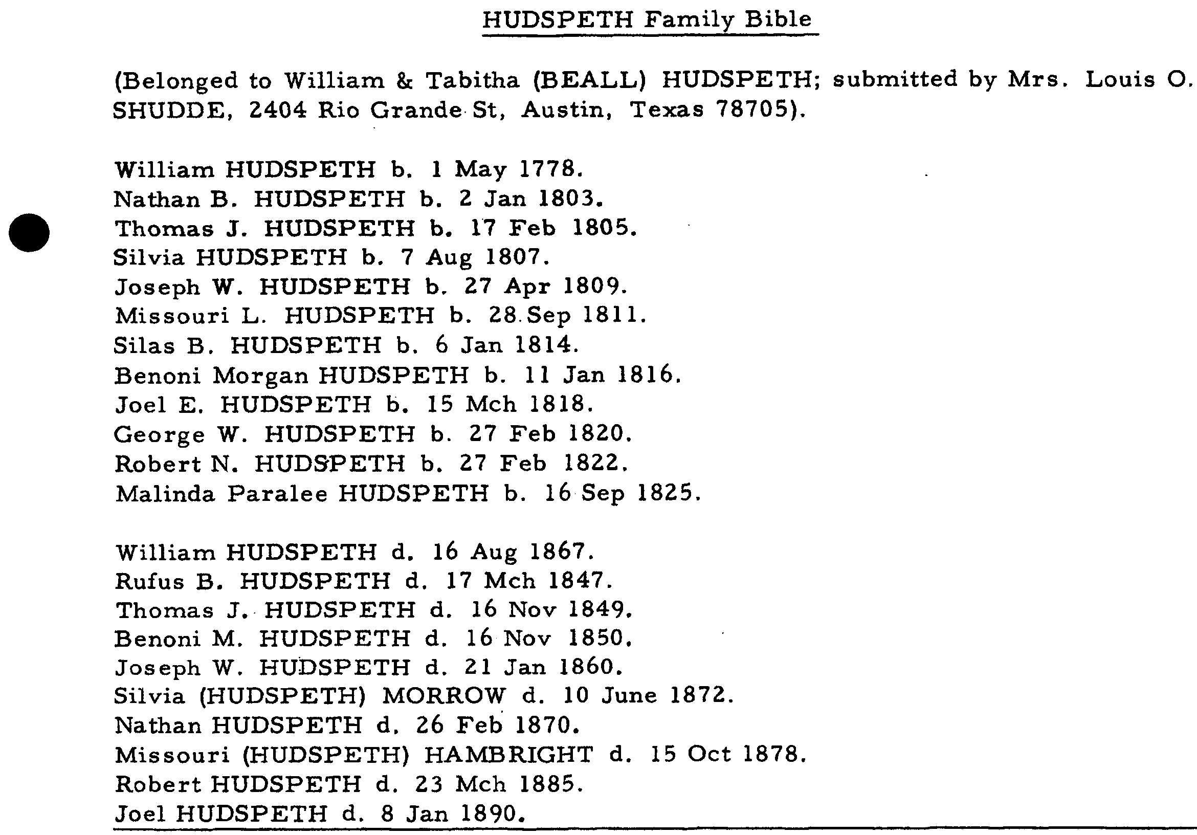 William David Hudspeth