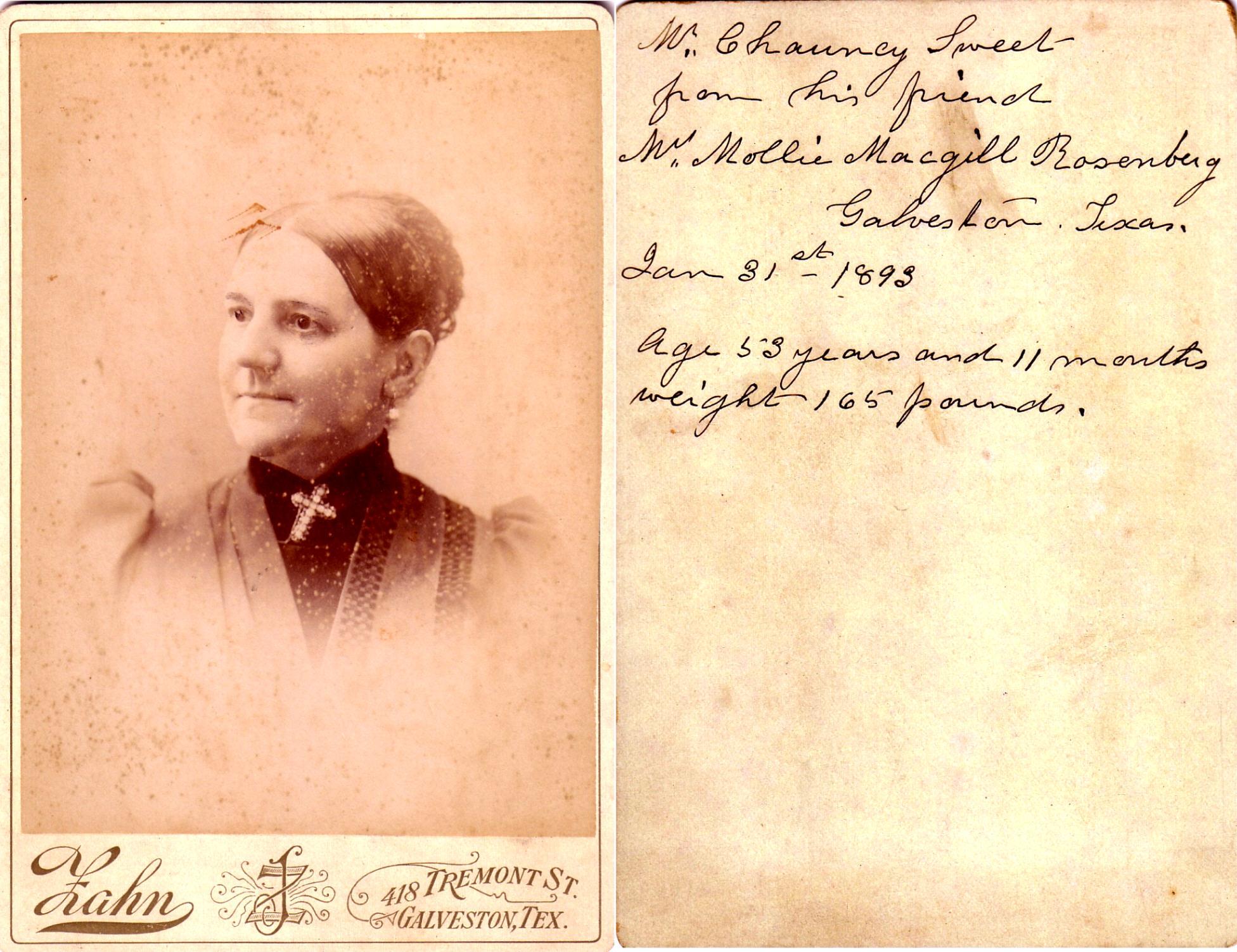 Chauncy Sweet's friend Mollie Macgill Rosenberg
