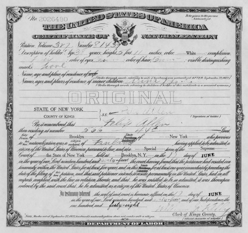 Certificate of Naturalization for Felix Alfred Allen