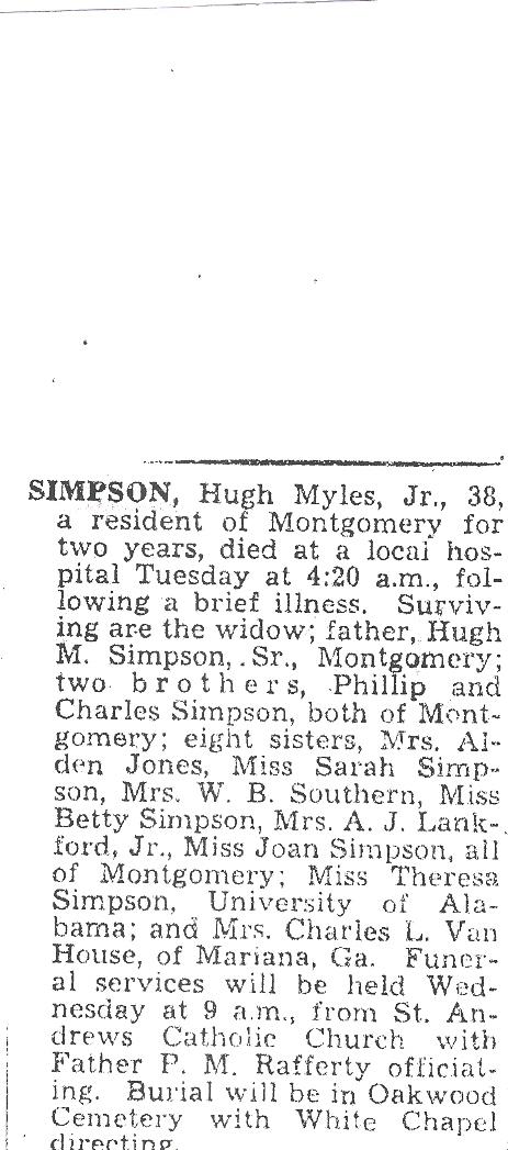 Hugh C Simpson