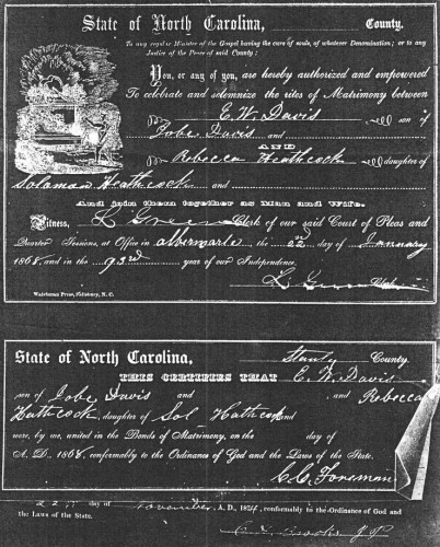 Edwin Winfield Davis and Rebecca Hathcock Marriage Certificate