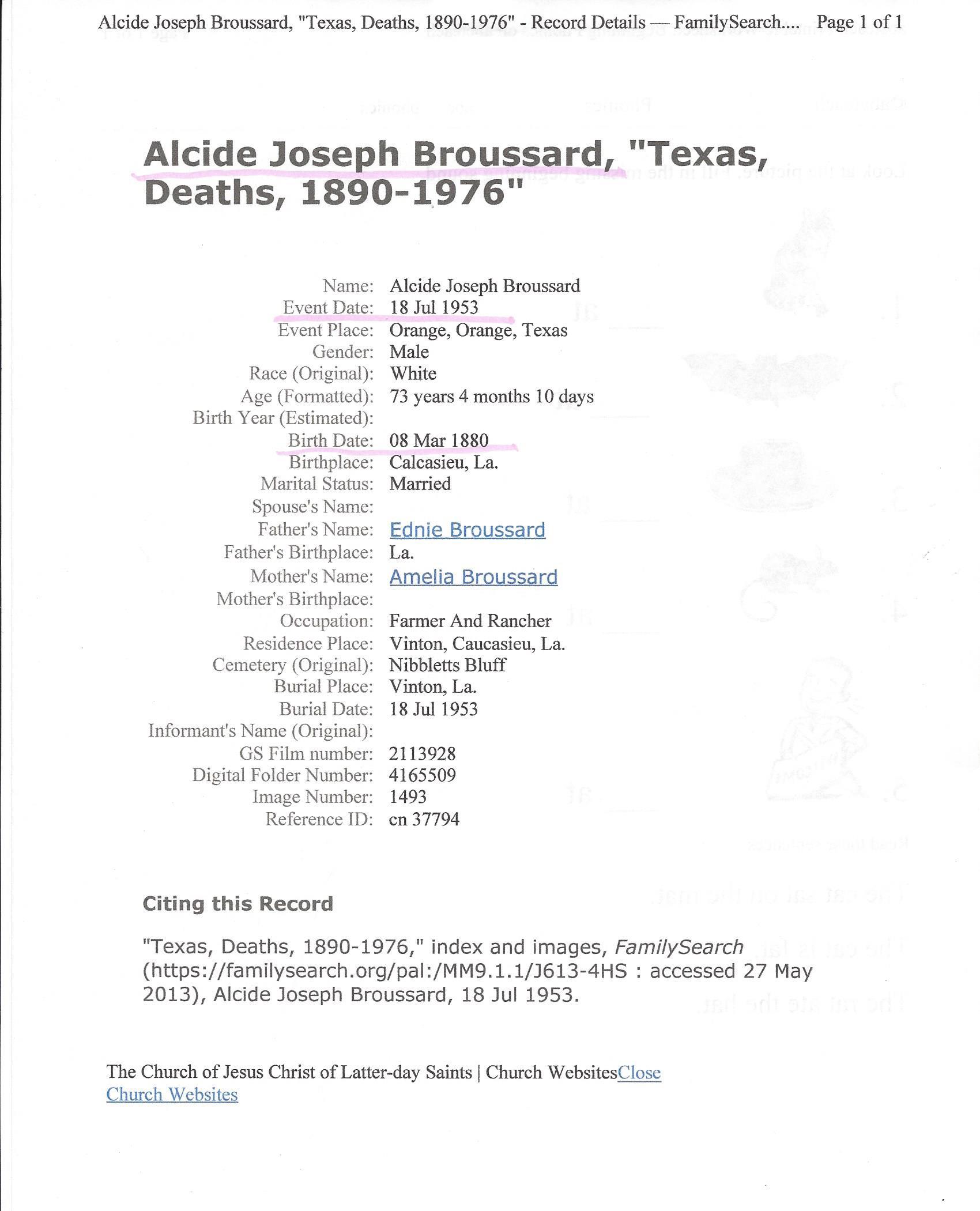 Alcide Alphe Broussard