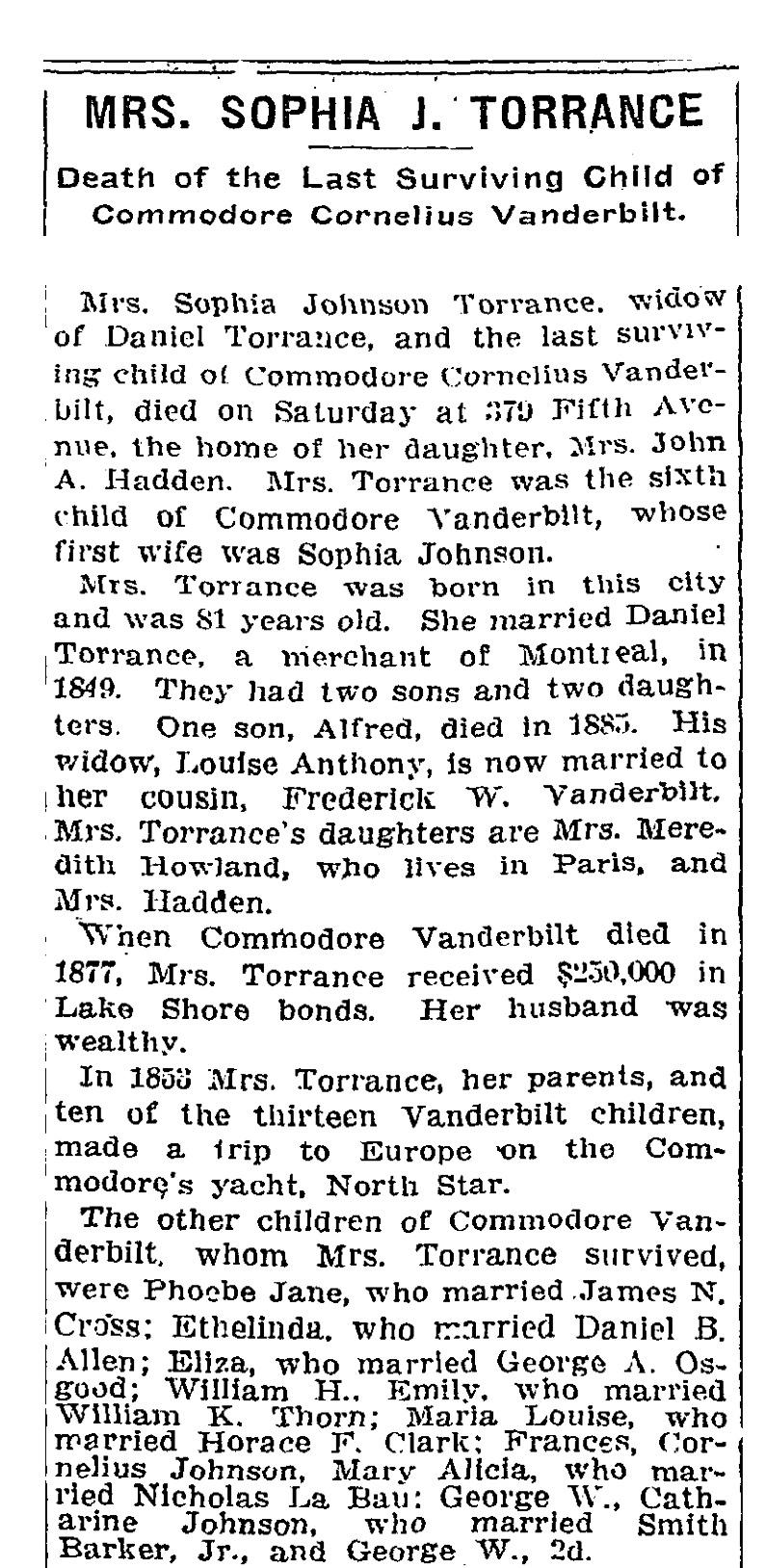 Sophia Johnson Vanderbilt