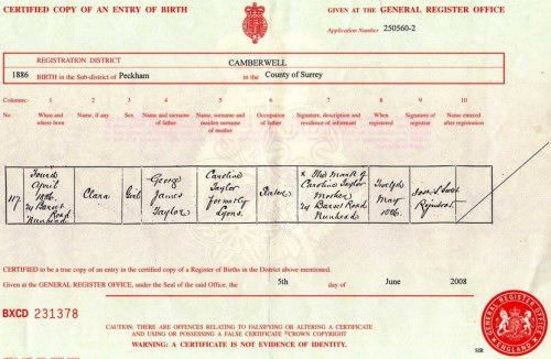 clara taylor birth certificate159