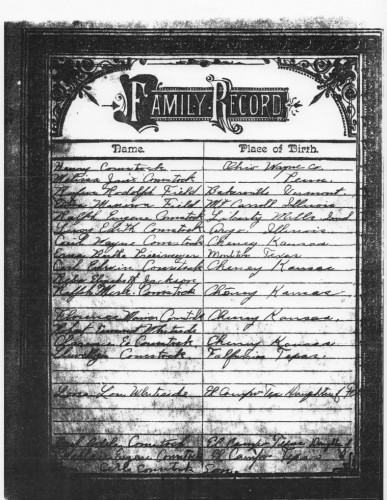 Lucy Comstock's Family Bible Record Pg 1