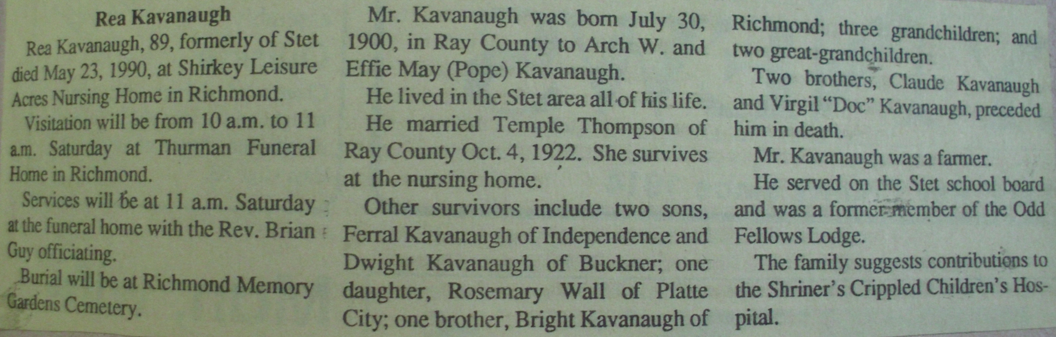 Doniphan Amonett Kavanaugh