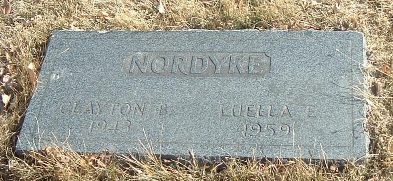 Clayton Brown Nordyke & Luella Eliza Clark Nordyke gravestone