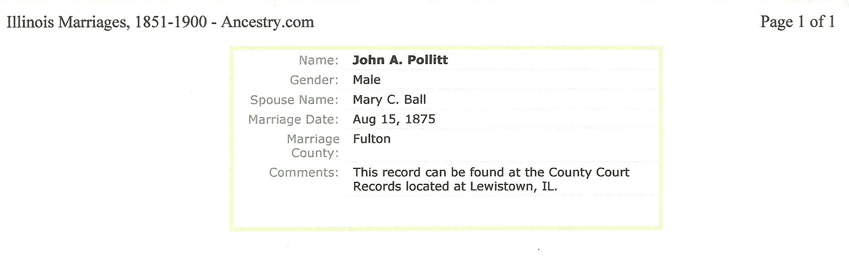 John W Pollitt