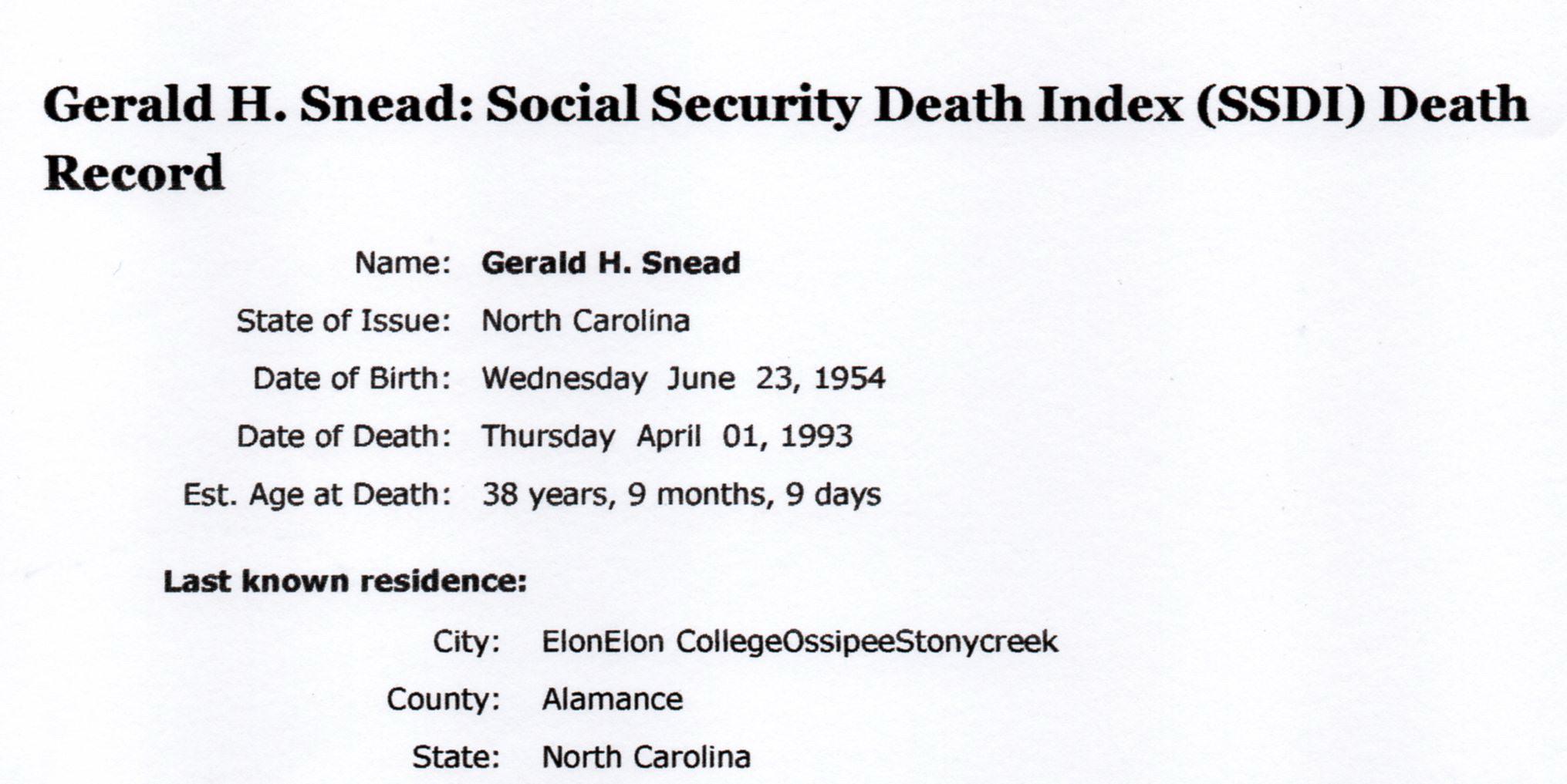 Gerald H Snead