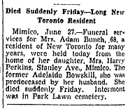 Adelaide Bunch (nee Bowskill) Obituary