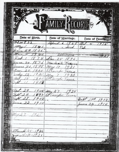 Lucy Comstock's Family Bible Record Pg 2