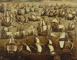 The Spanish Armada and English ships in August 1588 by unknown painter