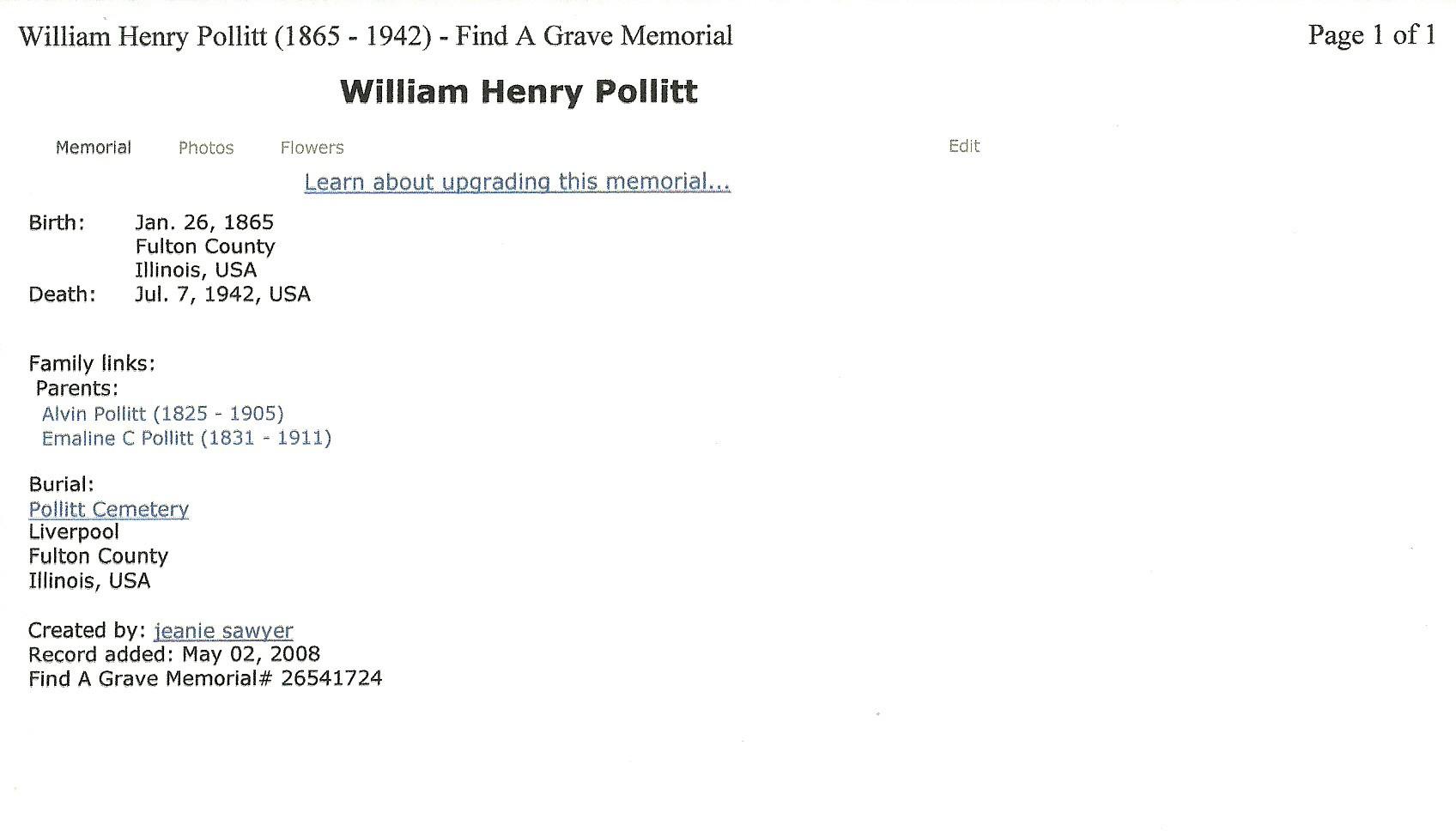 William F Pollitt