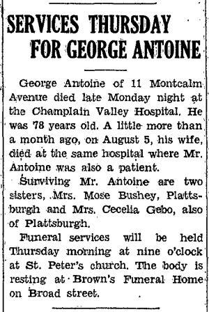 SERVICES THURSDAY FOR GEORGE ANTOINE