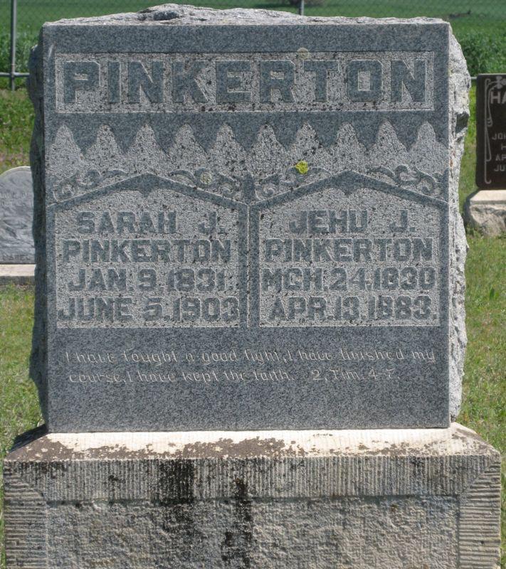 Jehu Pinkerton and Sarah J Pinkerton Grave Stone