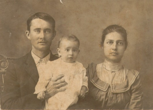 Joseph Frank Adams and Nettie Mitchell Adams with son J. B. Adams