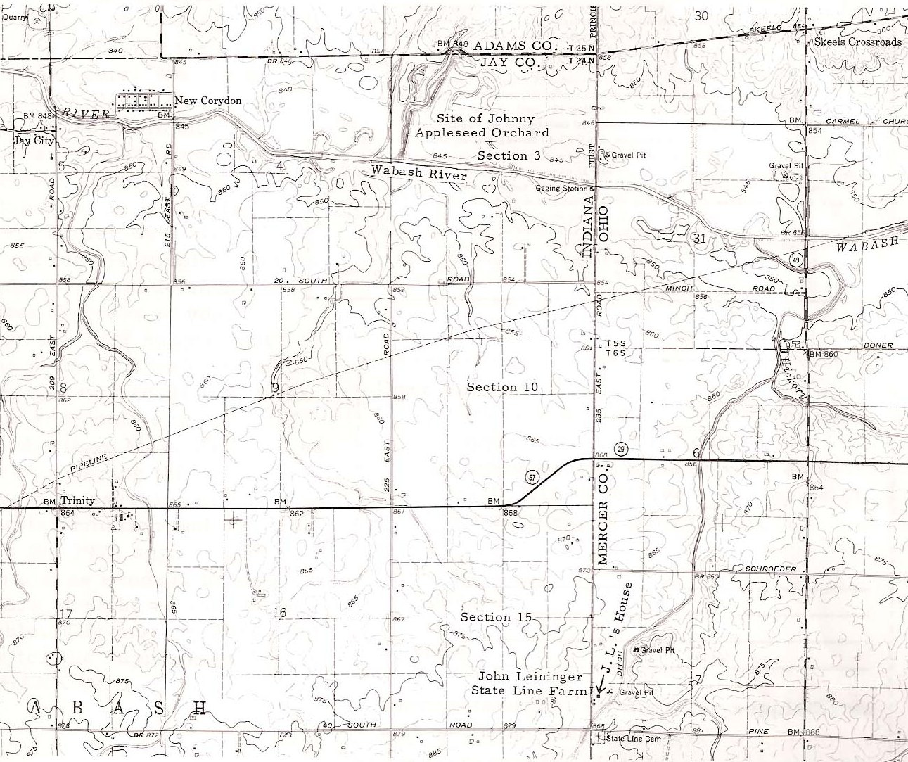 Map of Johnny Appleseed's farm (John Chapman) and John George Leininger's farm