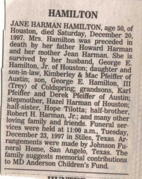 Jane Harmon Hamilton obit