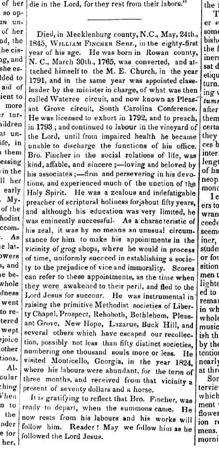 Obituary William Fincher 1845
