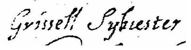 Signature of Grissell Brinley Sylvester 1635-1687