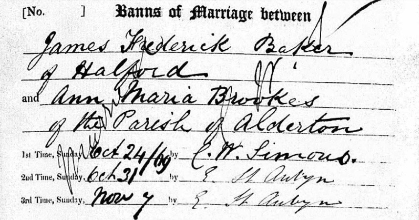 Ancestry.com - Warwickshire, England, Marriages and Banns, 1754-1910 - James Baker and Ann Brookes