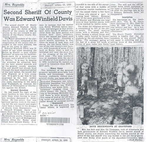 Edward Winfield Davis Newspaper article
