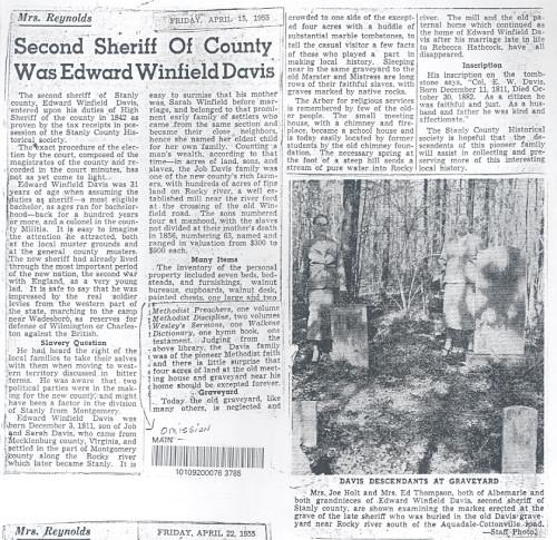 Edward Winfield Davis Newspaper article