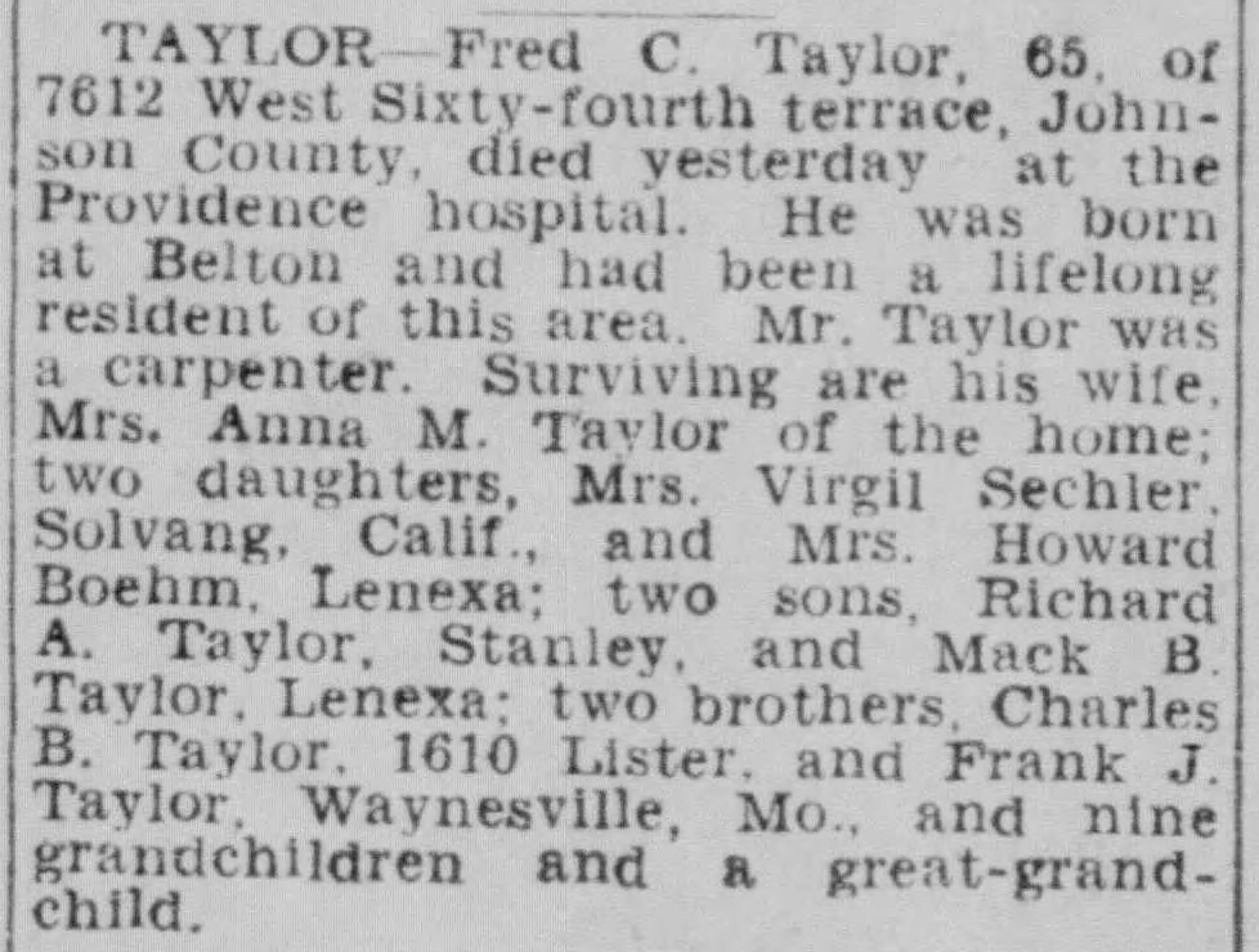 Frederick C Taylor