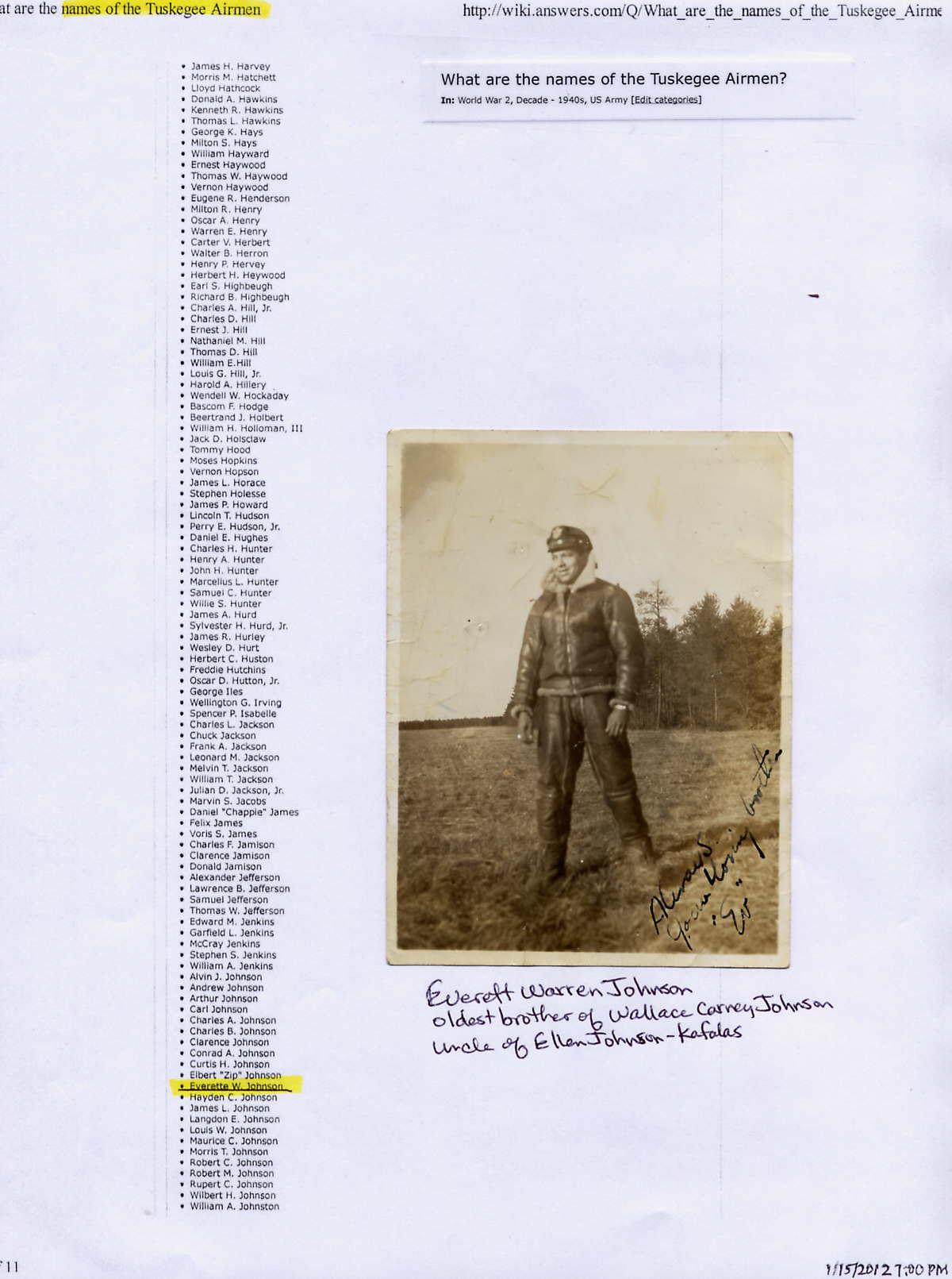 Everett Warren ( son of Everett, Sr. & Olive Johnson) Johnson
