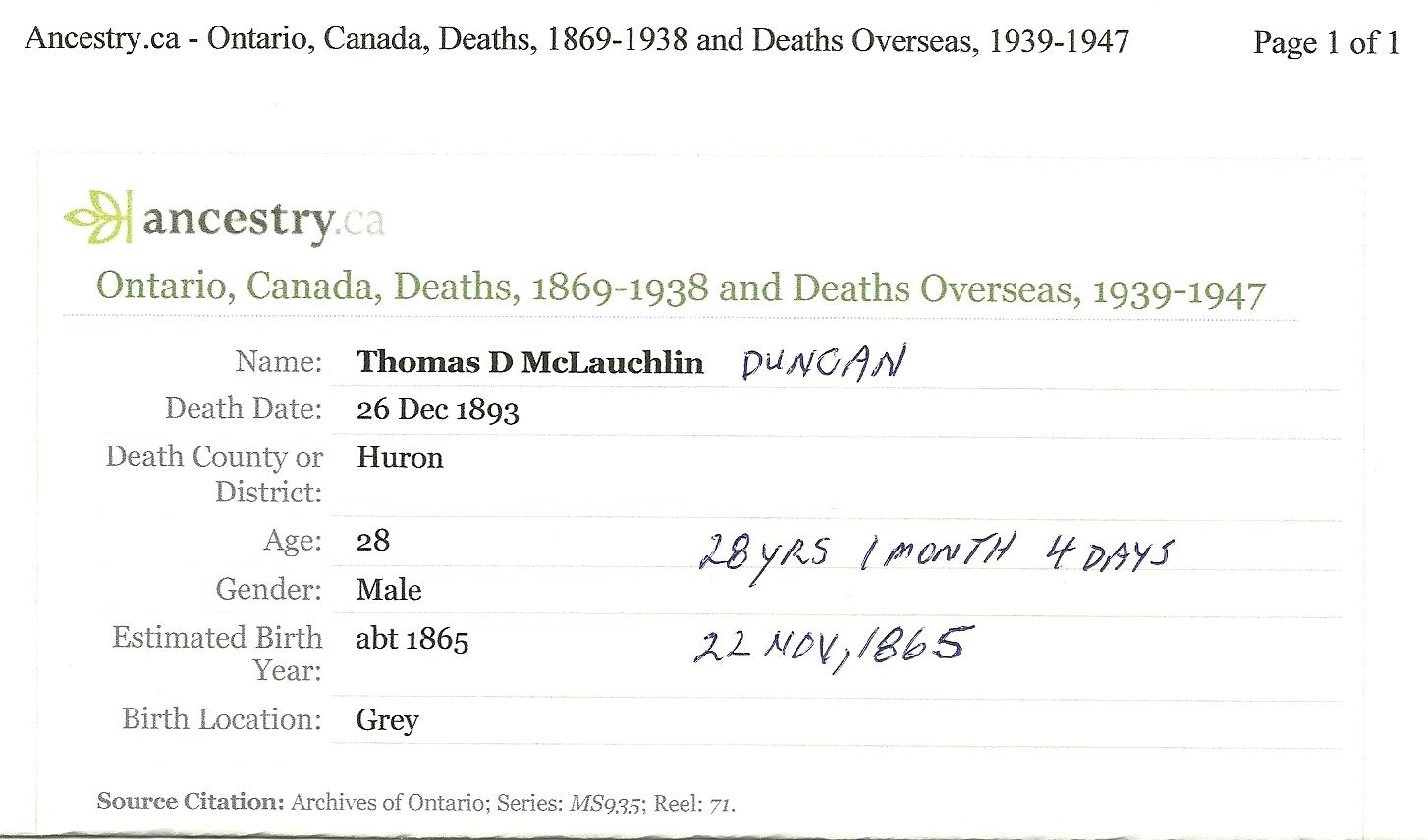 Thomas x1 Duncan McLauchlin