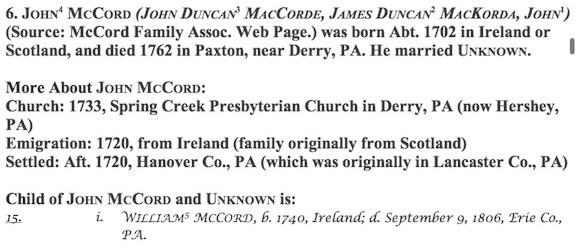 John (to Derry, PA) McCord
