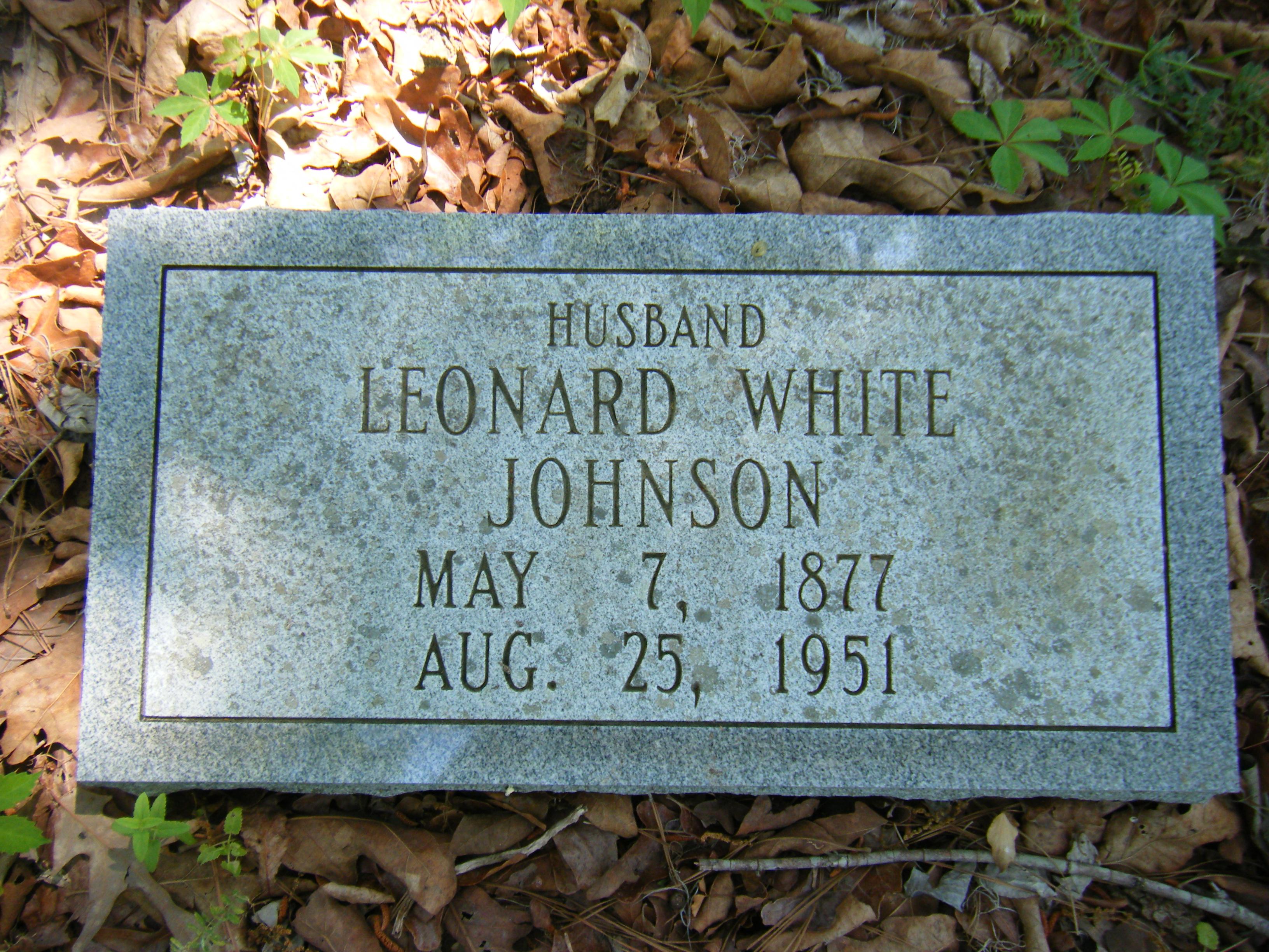 Leonard J White ( son of Jas Harvey) Johnson