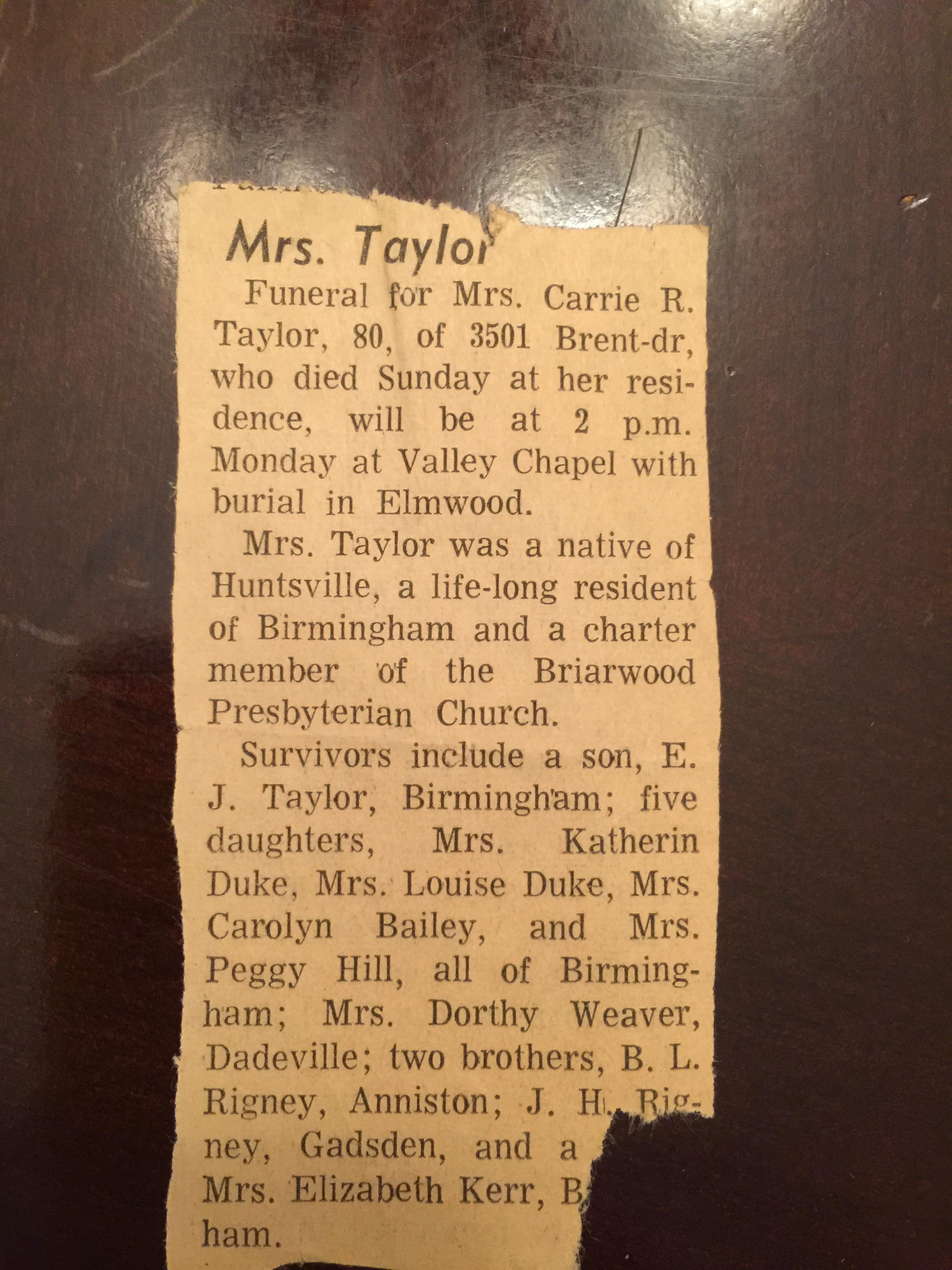Dorothy M (Dot) Taylor