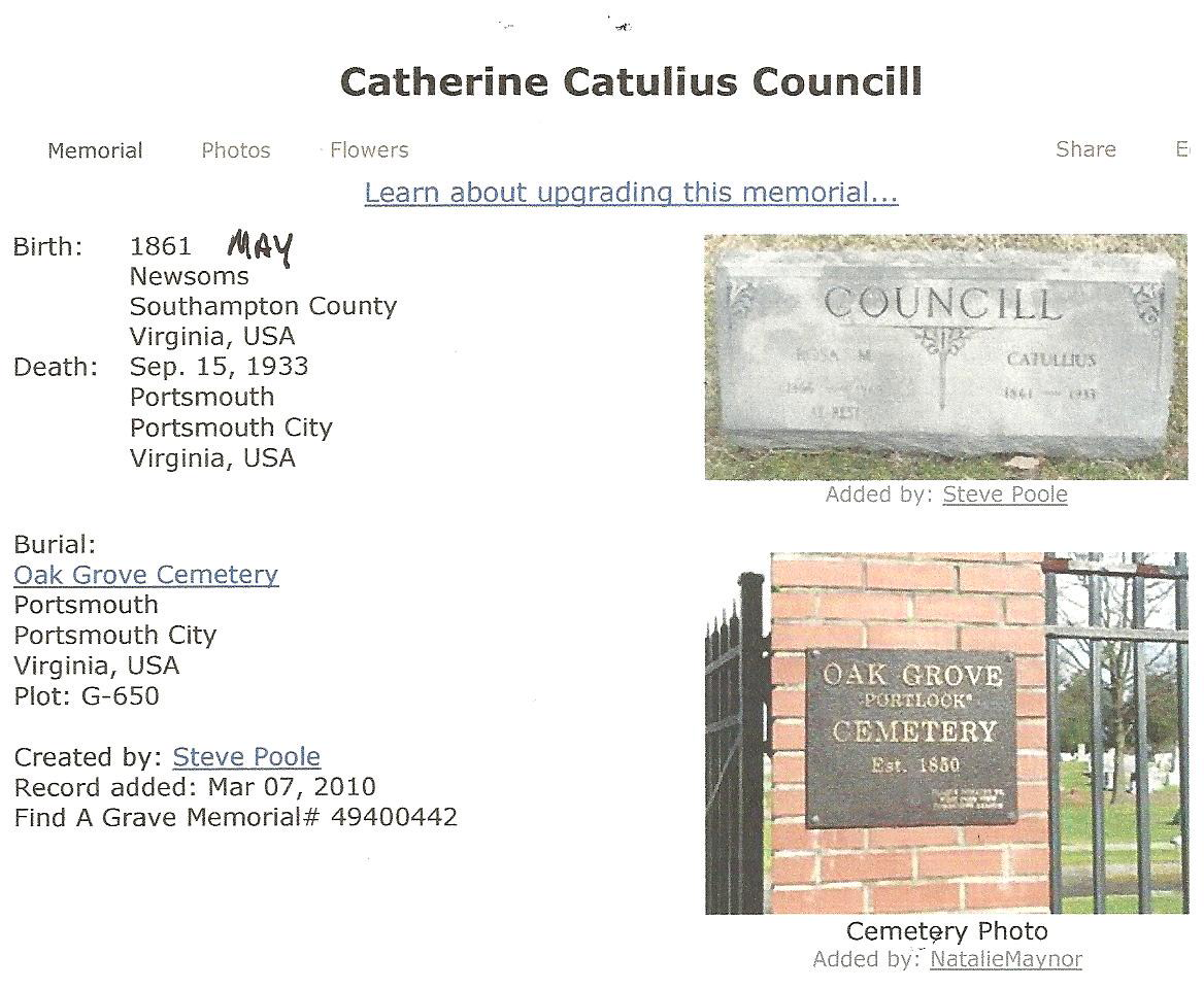 Catherine Catullius Councill****1