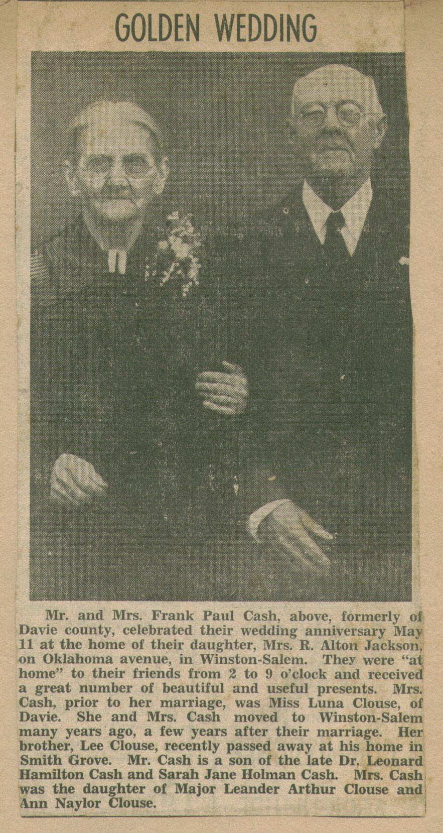 "Francis ""Frank"" Paul Cash"