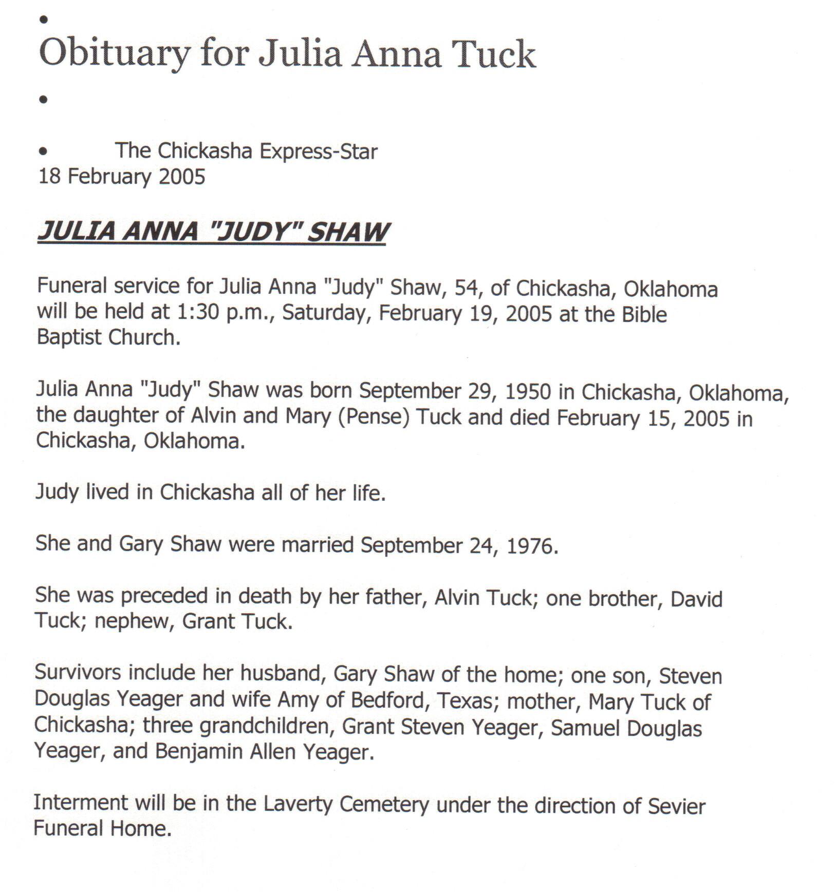 "Julia Anna ""Judy"" Tuck"