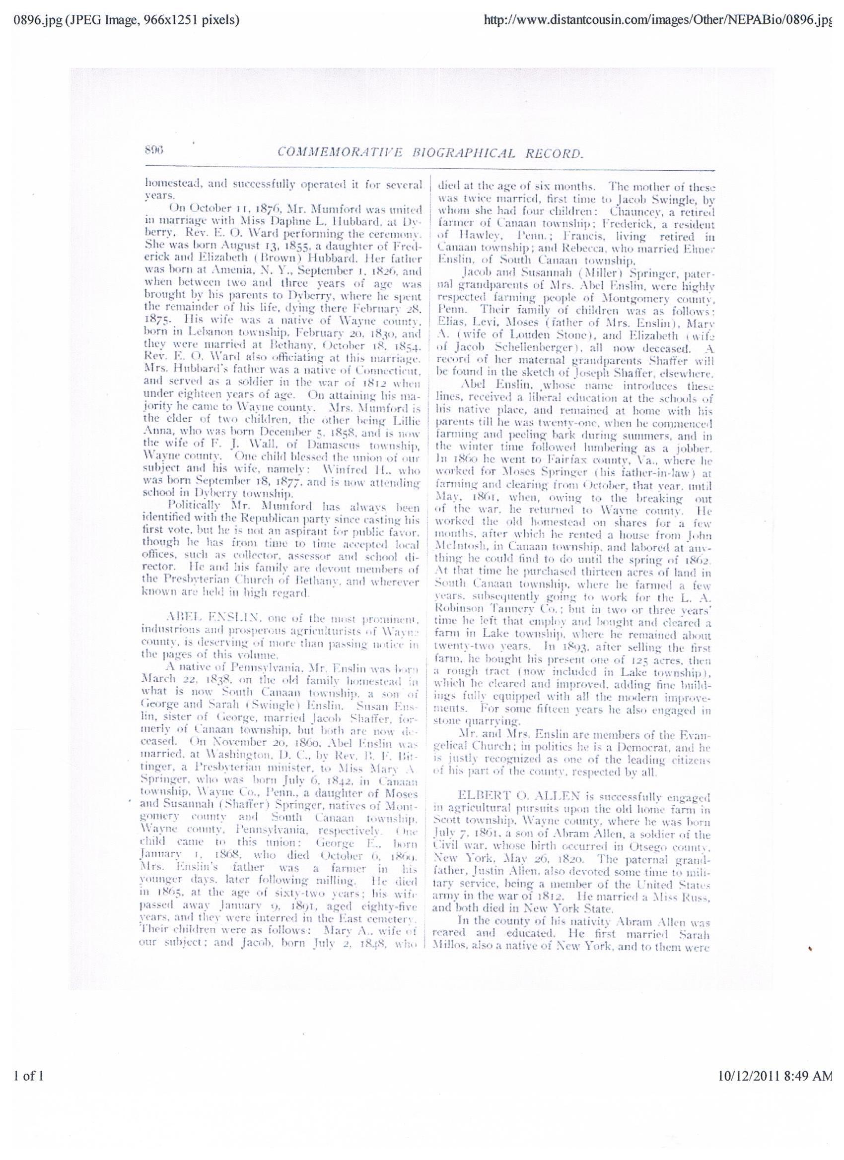 George W. of Catherine Swingle/George Enslin