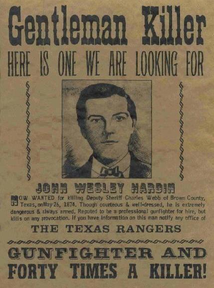 John Wesley Hardin Wanted Poster