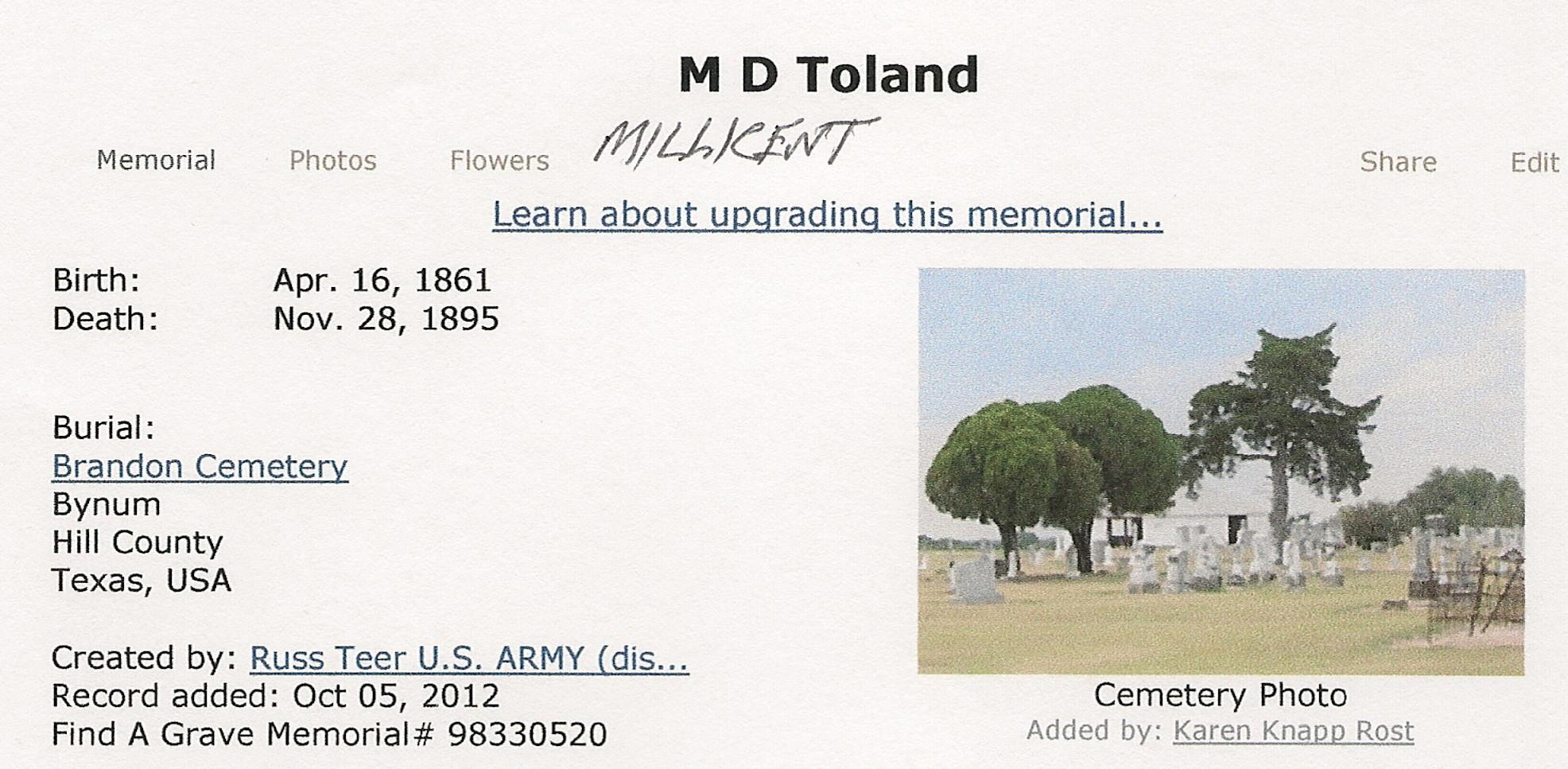 """Millicent """"Millie"""" D. Toland"""