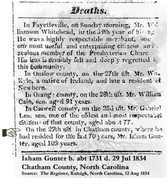 Isham Gunter (1731-1834) Death Notice