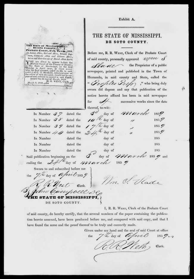 David Allen 1790-1855 probate Notice to out of state heirs