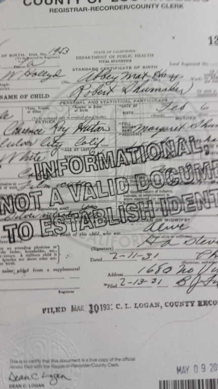 Dad's Birth Certificate
