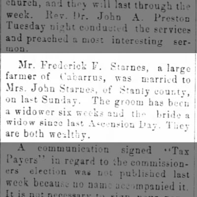Frederick F Starnes marriage to Mrs John Starnes, Mecklenburg Times (Charlotte, North Carolina)07 Jun 1894, Thu Page 4