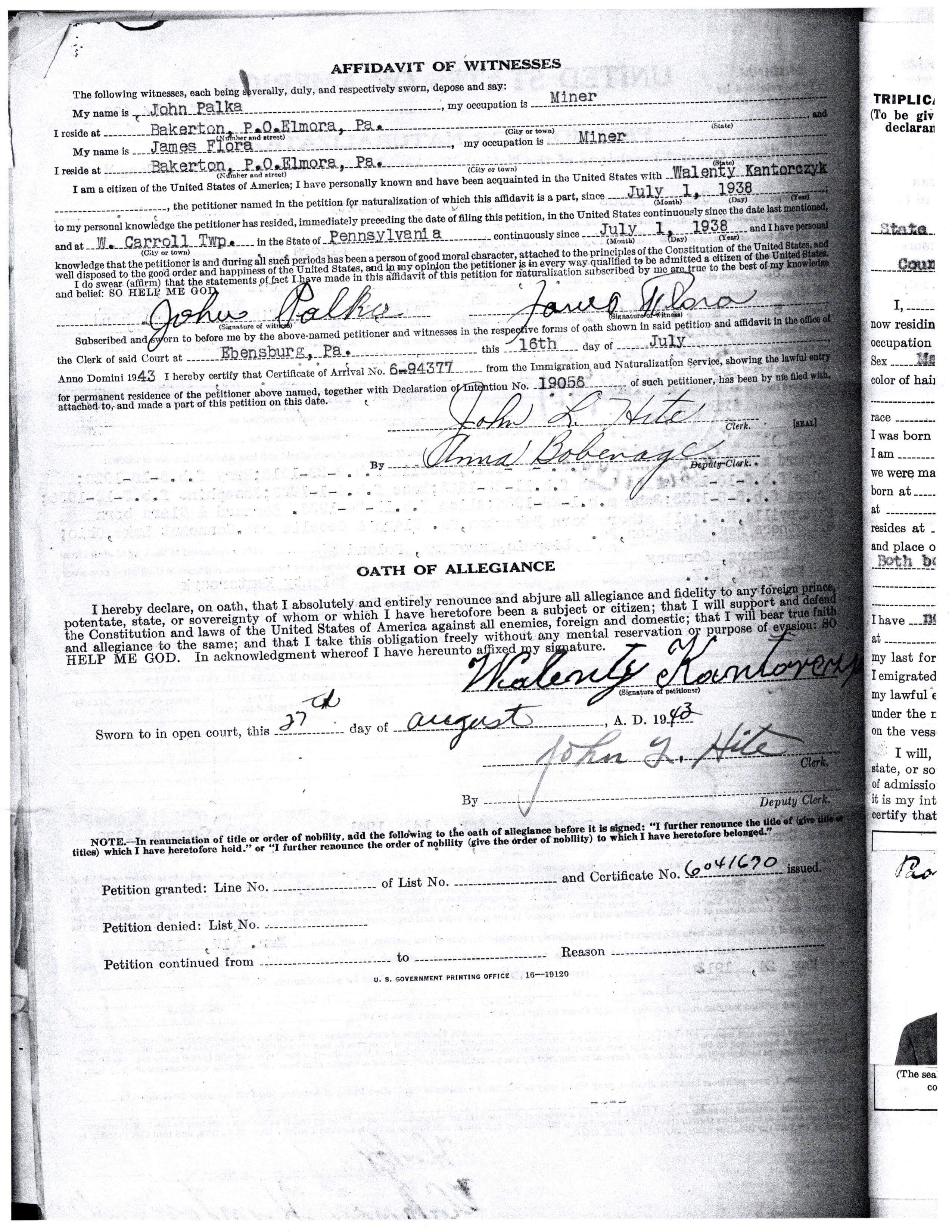 1943-08-25 Affidavit of Witnesses (Naturalization) Walenty Kantorczyk