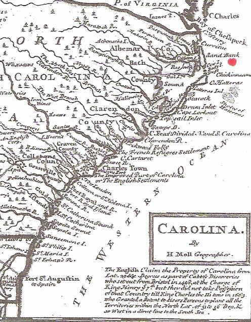 Map of Carolinas 1740