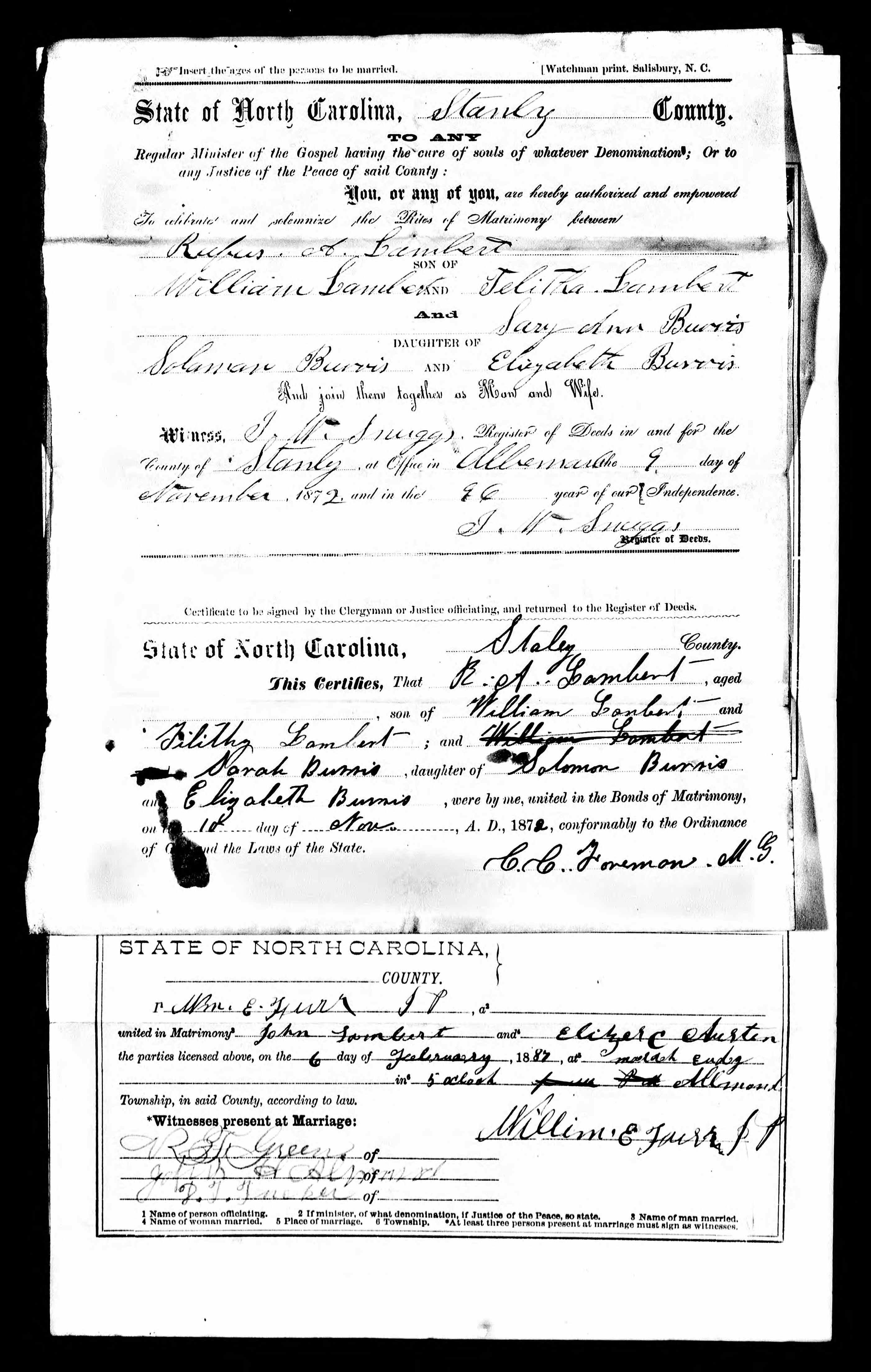 North Carolina, Marriage Records, 1741-2011 - Rufus Alexander Lambert(1)